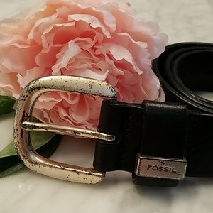Black Leather Fossil Belt Silver Buckle M